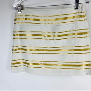 J Crew Cream Metallic Gold Stripe Mini Skirt Sz 0